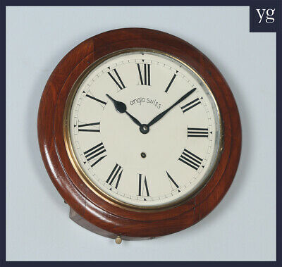 "Antique 16"" Mahogany Anglo Swiss Railway Station / School Round Dial Wall Clock"