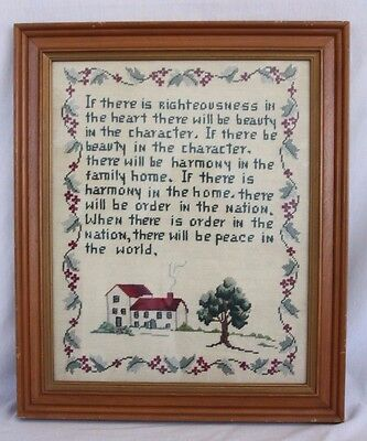 Colonial Harmony Peace Righteousness Quote Completed Needlepoint Framed Picture