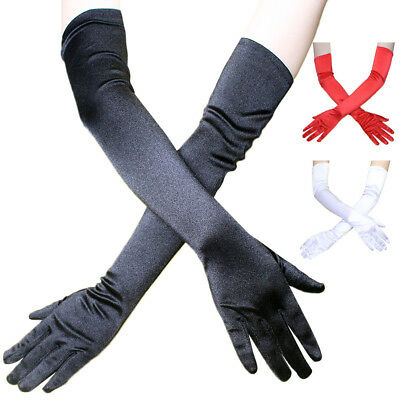 Women Stretch Satin Extra Long Gloves Wrist Elbow Opera Evening Party Costume