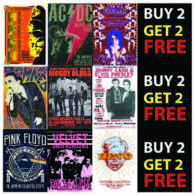 Vintage Band Rock Blues Alternative Concert Posters Bar Decor A4 A3 Posters V2