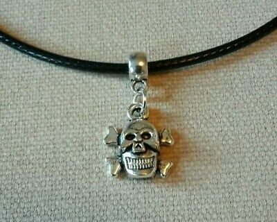 SKULLS WITH ROSE LEATHER NECKLACE 17 INCH MENS WOMENS TIBETAN SILVER PENDANT