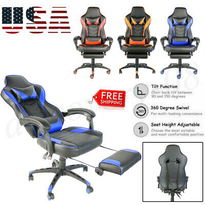 High Back Swivel Chair Racing Gaming Recliner Computer Office Desk Footrest Tier