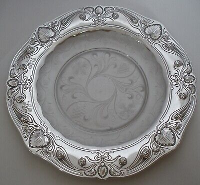 "Gorham Athenic Sterling & Hawkes Cut Glass Art Nouveau 9"" Plate Or Tray 1905"