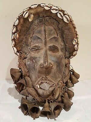 Rare African wood Dan Deangle fetish mask. Beautiful example.