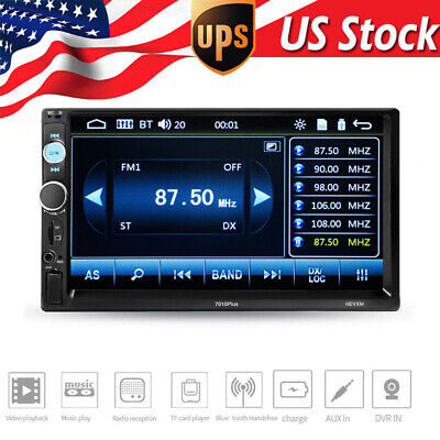 """7"""" Double 2DIN Car MP5 MP3 Player Bluetooth Mirror Link Touch Screen Radio Cam"""