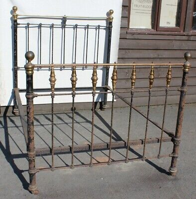 1910 Brass and Iron bed - Needs Brass Polishing- Check Size
