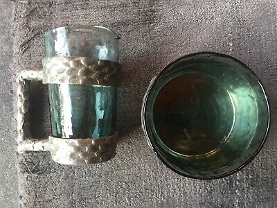 Brutalist Riddertin Norwegian Pewter and Hadeland Glass Milk and Sugar by Q Ruud