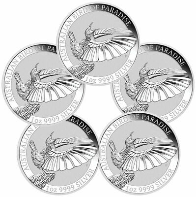 Lot of 5 2018 P Australia 1 oz Silver Bird of Paradise $1 BU SKU57495