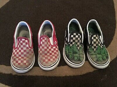 2457b973f0 Toddler Boys Marvel Vans Hulk Checkerboard Classic Slip On Trainers Shoes  Size 8