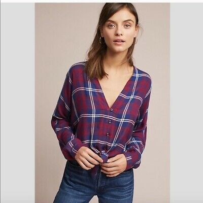 99c2bba6101c ANTHROPOLOGIE RAILS SIZE Small Sloan Top Flannel Plaid Tie Knot Front Red  Blue -  35.00