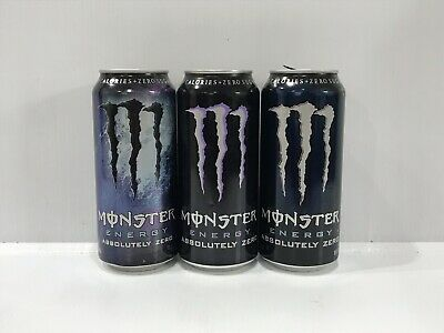 Monster Energy Drink Absolutely Zero Three Different Variants 16oz Empty Cans