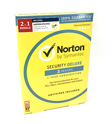 Norton By Symantec Security Deluxe for 3 Devices PC Mac iOS w/ Utilities #3487