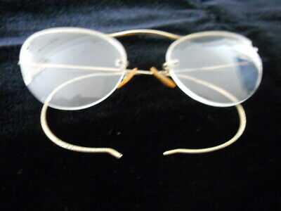 Vintage Gold Tone Rimless Wire Framed Bifocal Glasses Spectacles Cat Eye Shape