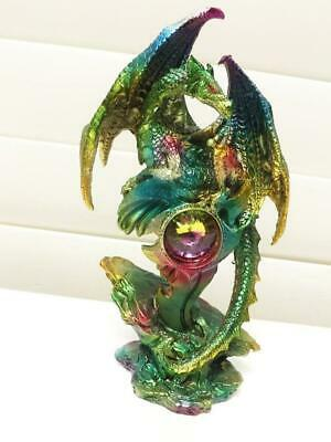 19cm  DRAGON with GEM STONE FIGURINE STATUE MULTI COLORS POLY-RESIN