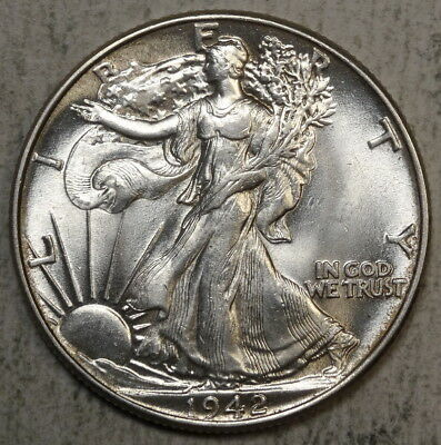 1942 Walking Liberty Half Dollar, Choice Uncirculated, Flashy BU Coin  0830-13