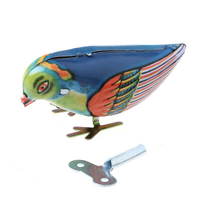 Wind up clockwork pecking song blue bird magpie tin toy vintage retro gift Hy