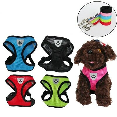 Pet Dog Harness Leash Sets Puppy Vest Collar Chest Traction Rope Breathable Mesh