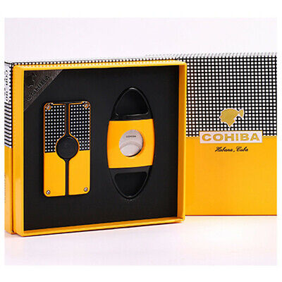 COHIBA Yellow Classic Cigar Cigarette Lighter 3 Torch Jet Flame With Cutter Set