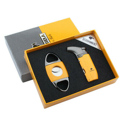 Cohiba Metal Cigar Lighter Double Torch Jet Flame With Punch Cutter Set Yellow