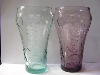 2 Coca-Cola Glasses McDonalds London Olympic Green Pink coke 2012 McDonald's