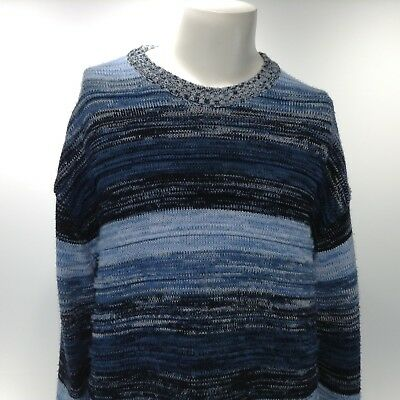 462dc2b18b SOUTHPOLE Authentic Collection Men s XL Blue Striped Long Sleeve Casual  Sweater