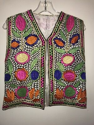 Vintage Gypsy Embroidered Boho Vest Size 10/12.  #30