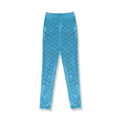 NEW Mermaid Girls Blue Shimmer Fish Scale Leggings