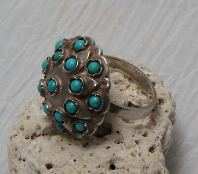 French Hallmarked Sterling Silver & Turquoise Dome Size 6.5 Ring 10.4 grams
