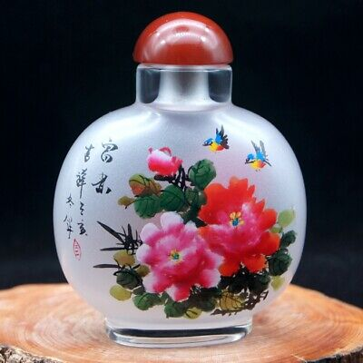 Chinese Collectible Handmade inside painted Flowering glass snuff bottle big