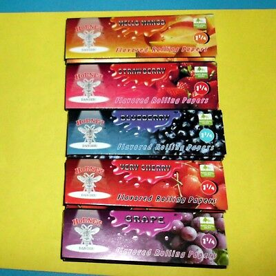 5 Fruit Flavoured Smoking Cigarette Tobacco Rolling Papers 5 Books 250 Leaves T1