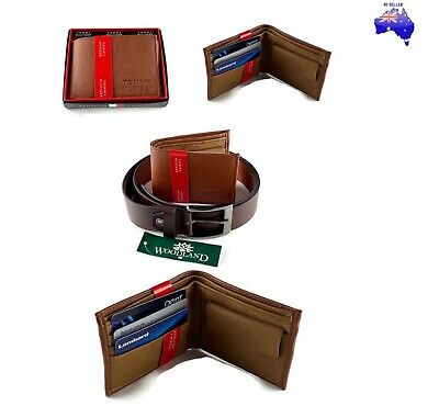 AU Stock Men's  Brown Wallet 100% Leather and Leather Belt Combo Present Gift