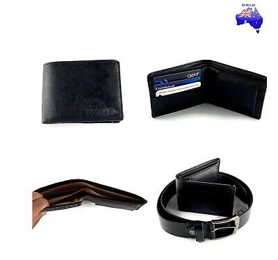 AU Stock Men's  Black Wallet 100% Leather and Leather Belt Combo Present Gift