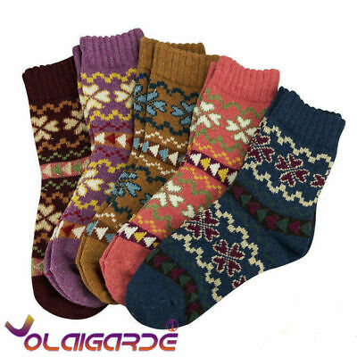 5 Pairs Women Ladies Winter Warm Soft Wool Thick Socks Nordic Novelty Sock