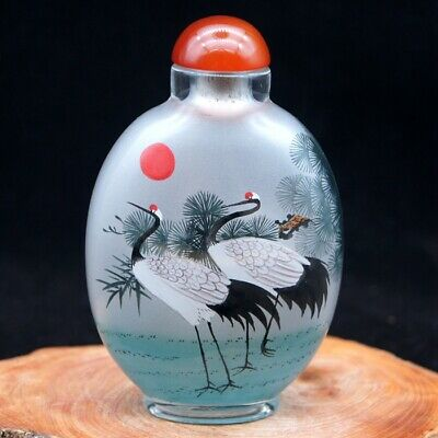 China Collectible Handmade inside painted pine crane glass snuff bottle big2