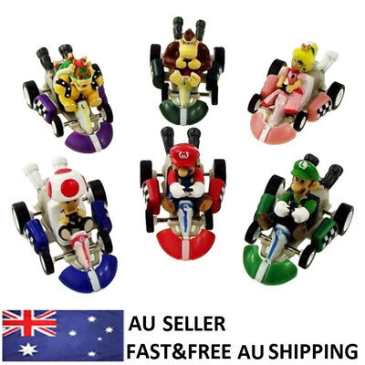 Super Mario Kart Luigi Pull Back Car Action Figure Doll Collection Toy Gift 6PCS