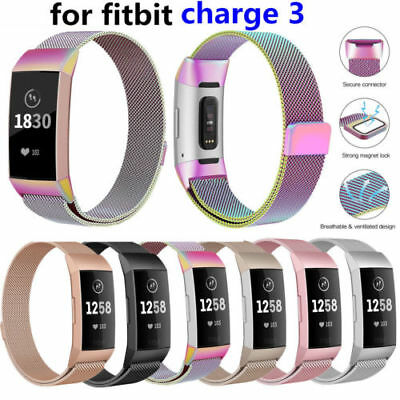 US For Fitbit Charge 3 Band Metal Stainless Steel Milanese Loop Wristband Strap