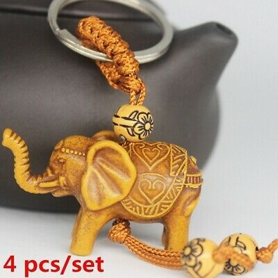 4 Pcs/set Lucky Elephant Carving Wooden Pendant Keychain Key Ring Chain Gift