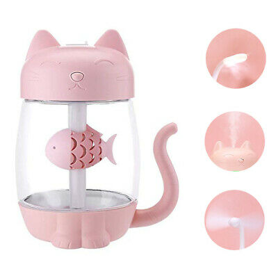 3 in 1 Pink Cat Paw Mug Ultrasonic Humidifier Essential Oil Diffuser LED Light