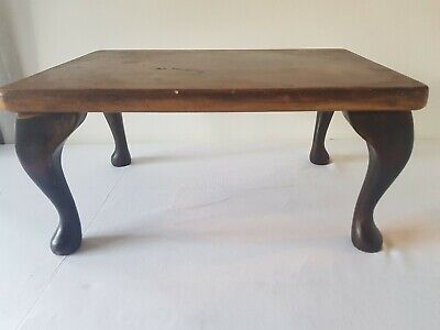 Antique Wooden Foot Stool / Cabriole Legs / Beautifully Aged