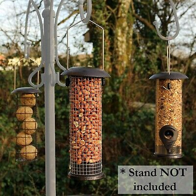 Hanging Wild Bird Feeder set of 3 Seed Nut Fat Ball Garden Feeding Station