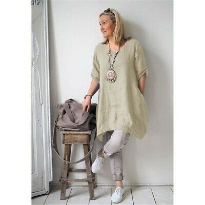 Women Holiday Long Sleeve Tunic T-Shirt Loose Boho Irregular Blouse Tops 8C