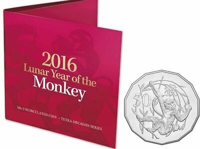 Australia  2016  LUNAR YEAR OF THE MONKEY Uncirculated CARDED 50c Coin