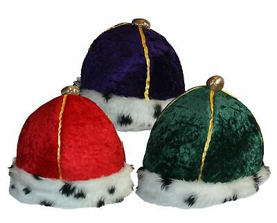 Velour Crown King Queen Green Purple Red Gold Trim Royalty