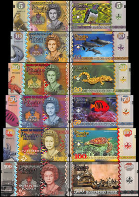 Pitcairn Islands 5 - 500 Pounds 6 Pieces Fantasy Banknote Set, 2018, UNC