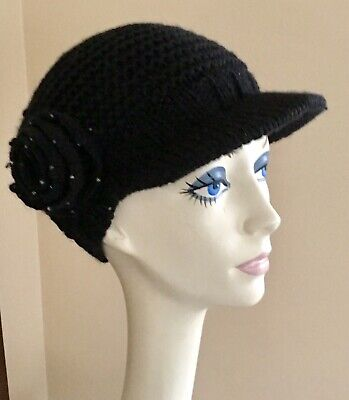 222a923f1 KNITTED FLOWER CAP WITH VISOR BILL BY BETMAR - Same Day Shipping ...