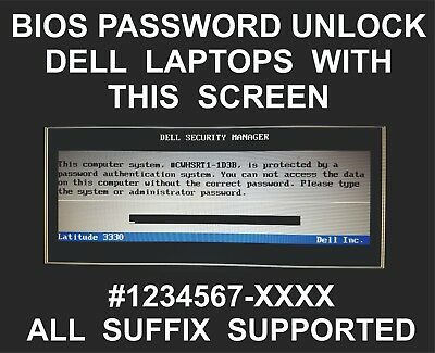 Dell Bios Password Unlock Service, All Models, With Service Tag And Any Suffix