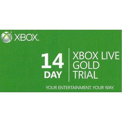 14 Day Xbox Live Gold PHYSICAL CARD Subscription Trial Membership Code Xbox One