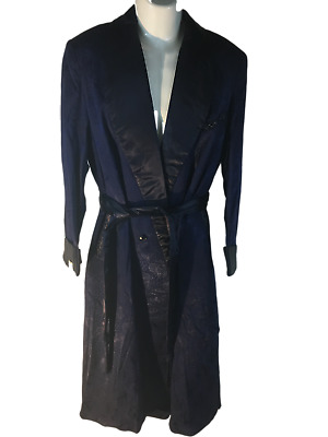 55ef100362 Vintage 50s Men s Blue Dressing Gown Robe Smoking Jacket Small NEW Unused