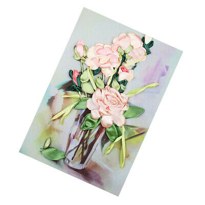 Rose Ribbon Embroidery Kit DIY Wall Decor Needlework Embroidery Painting Kit