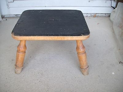 Vintage 4 Legged St.Joseph Hospital Room 106 #260 Wooden Foot StoolW/Rubber Top